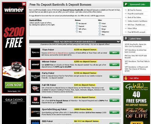 Free poker bankroll no deposit instant
